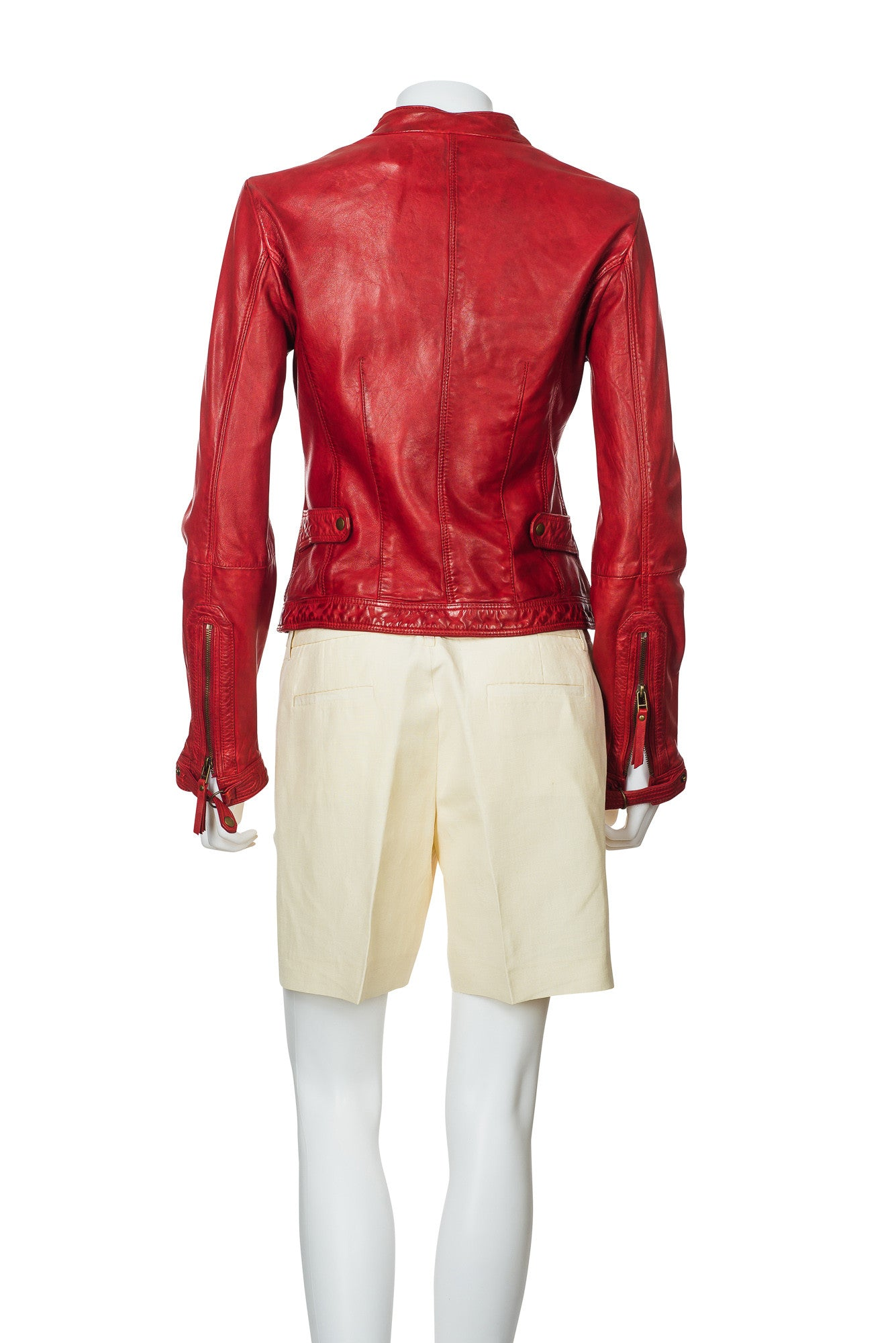 Massimo Dutti Red Leather Jacket