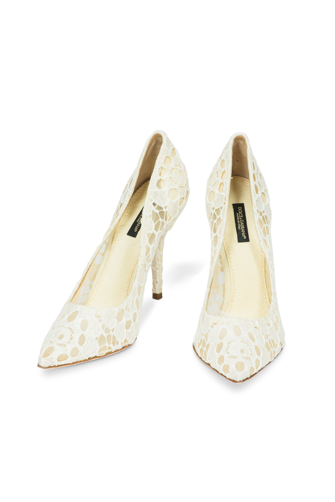 Dolce And Gabbana White Crochet Like Pumps