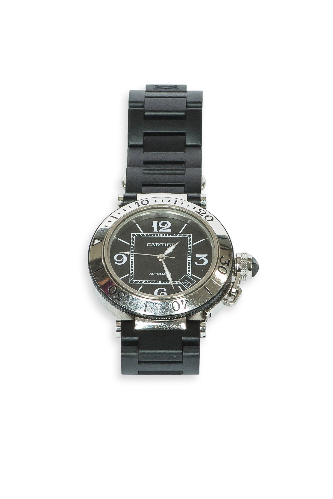 CARTIER PASHA SEATIMER RUBBER STRAP STEEL WATCH