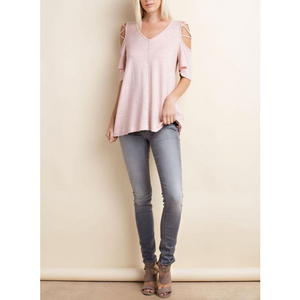 143 Story Brushed French Terry Cold Shoulder Top Criss Cross Sleeve Detail