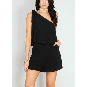 Black Off-Shoulder Layered Romper
