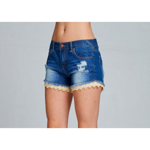 Listicle Dark Wash Distressed Denim Shorts with Crochet Trim