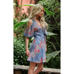ANGIE Baby Blue Cold Shoulder Floral Print Wrap Dress with Side Tie