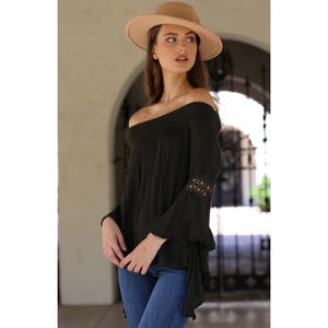 Angie Olive Off Shoulder Boho Peasant Top with Drape Bell Sleeves