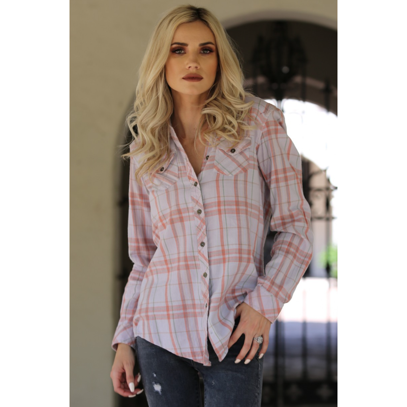 Angie Pink Plaid Button Up with Western Style Pockets