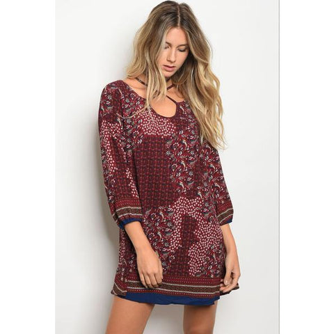 Burgandy Boho Multi Floral Navy Trim Dress