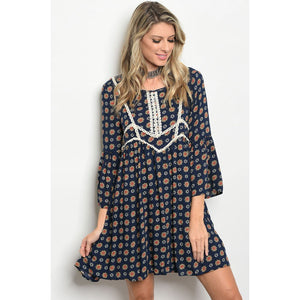 Entro Boho Bell Sleeve Crochet Trimmed Mustard Navy Dress