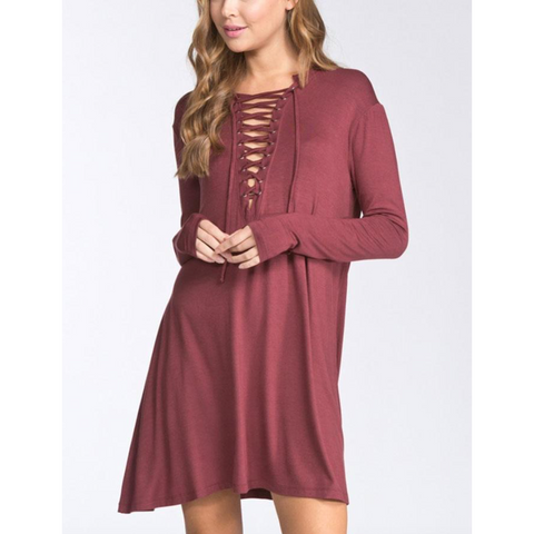 Brick Solid Lace Up Long Sleeve Dress