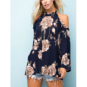 143 Story Navy Floral Printed Raw Edge Knit Cold Shoulder Top