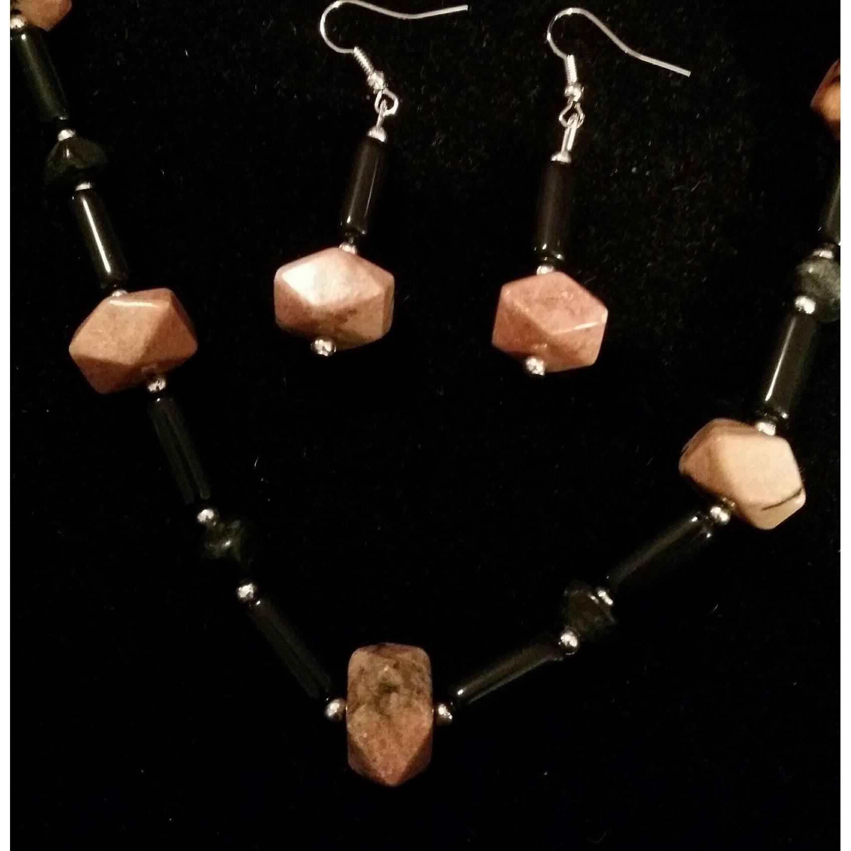 Rhodonite with Obsidian and Serpentine and Silver Necklace with Matching Earrings