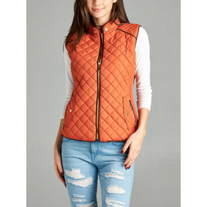 Rust Quilted Vest with Cocoa Piping and Zippered Pockets