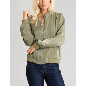 Be Cool Olive Lightweight Bomber Jacket with Side Pockets