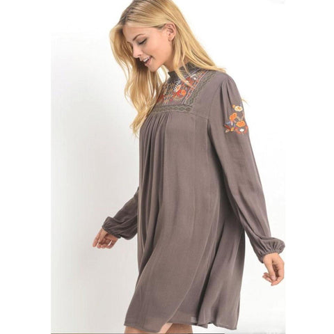 Mocha Embroidered Peasant Sleeve Boho Dress