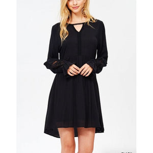 Jodifl Black Solid Boho Dress with Choker Neck and Crochet Detail