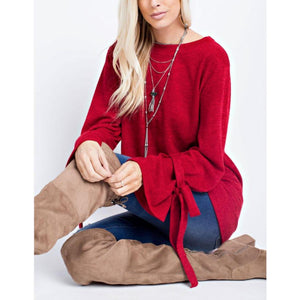 143 Story Red Loose Gauge Knit Tunic with Tie Sleeves
