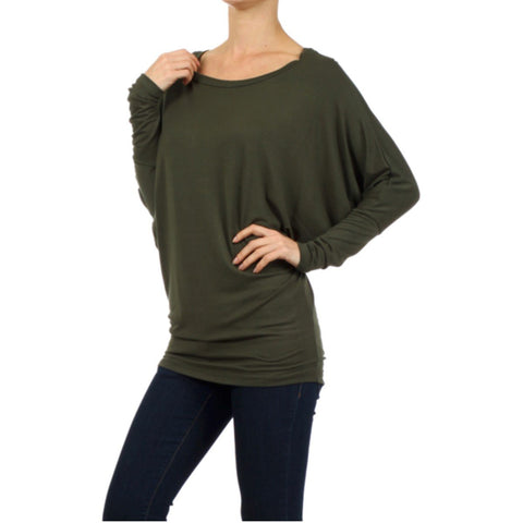Olive Solid Dolman Sleeve Knit Top