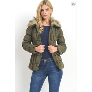 C'esttoi Olive Puffer Parka with Belted Waistband
