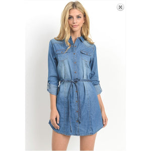Chambray Tunic Shirt/Dress with Belt