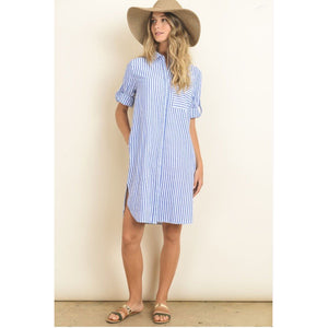 Blue Striped Button Up Shirtdress with Side Slits and Pockets