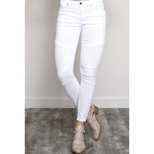 White Moto Skinny Jeans with Side Zipper Detail