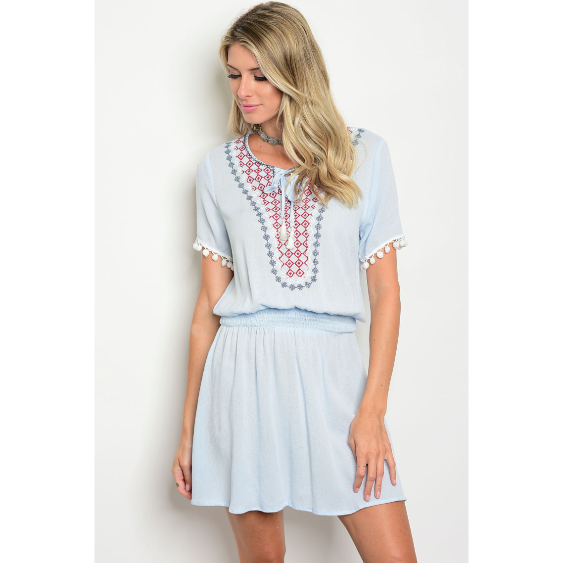 Available Pastel Blue Smocked Waist Embroidered Dress with Tie Neck