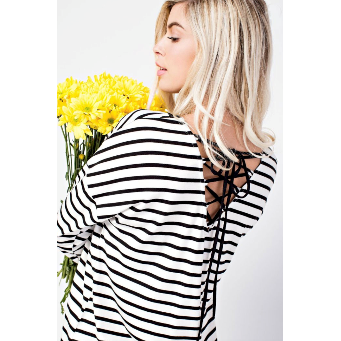 143 Story Black White Stripe Long Sleeve Top with Lace Up Back Detail