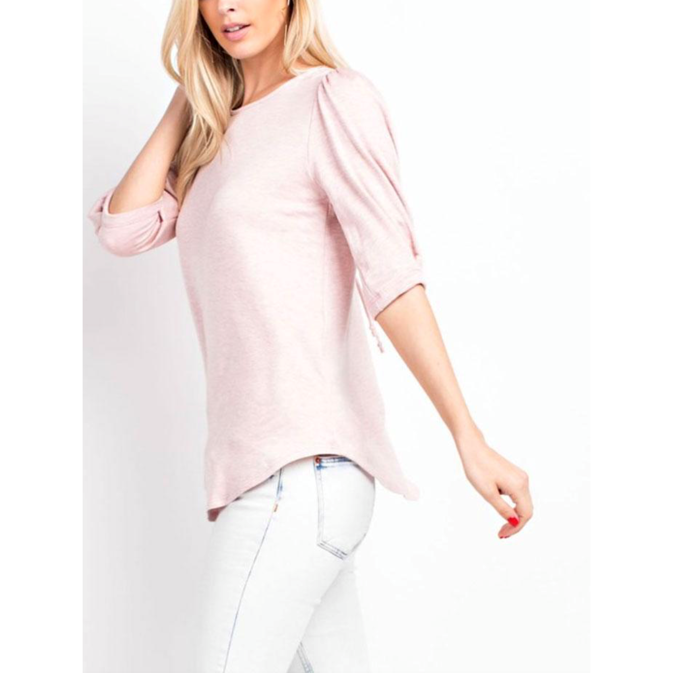 Blush Brushed French Terry 3/4 Kissing Pleat Sleeve Top