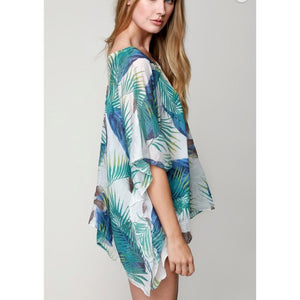 Blue Green Vacation Tropical Pattern Cover Up