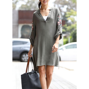 Balkan Avocado Button Embroidery Sleeve Detail Casual Vneck Dress