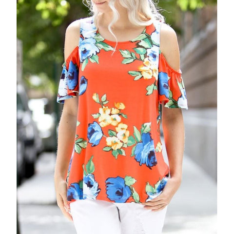 Sunburst Orange Open Ruffle Shoulder Floral Print Top