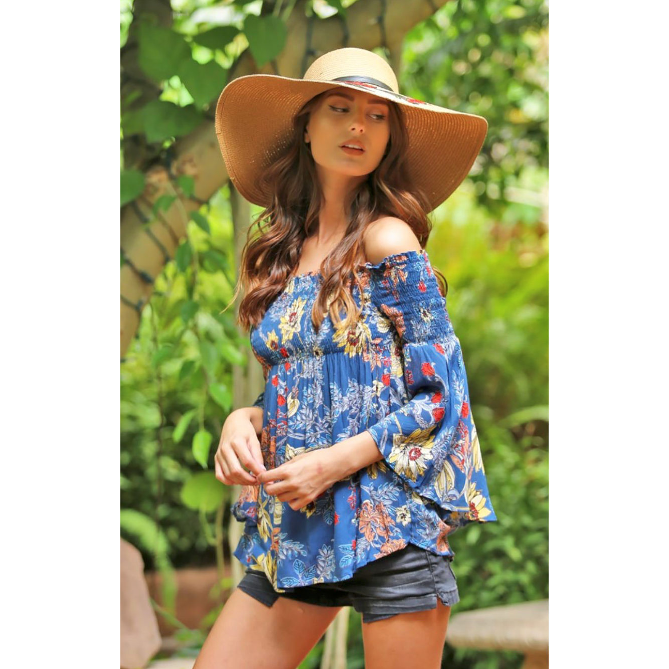 Angie Shirred Floral Print Bohemian Off Shoulder with Bell Sleeves Shirt