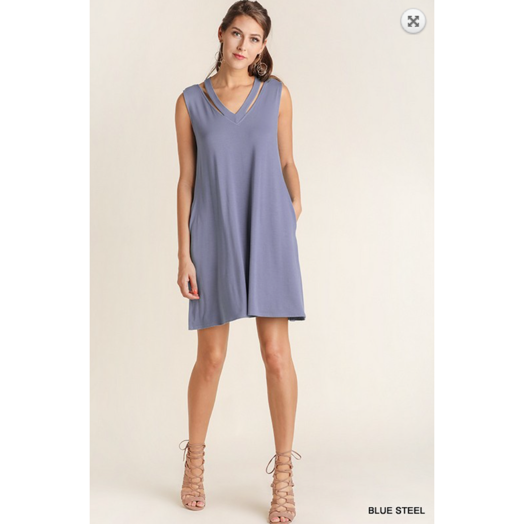 Blu Heaven Blue Steel Vneckline Dress with Wide Crossover Band on Back