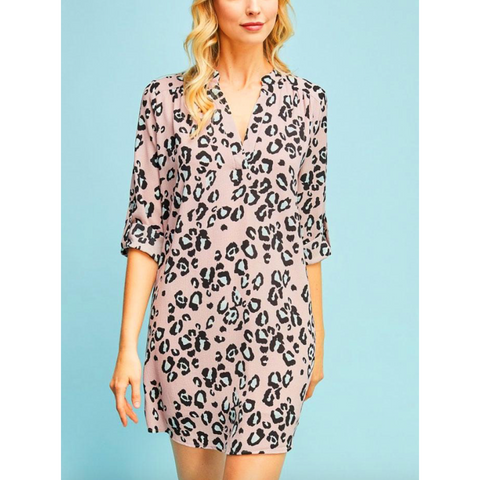 Entro Pink Leopard Print Button 3/4 Sleeve Tunic Dress