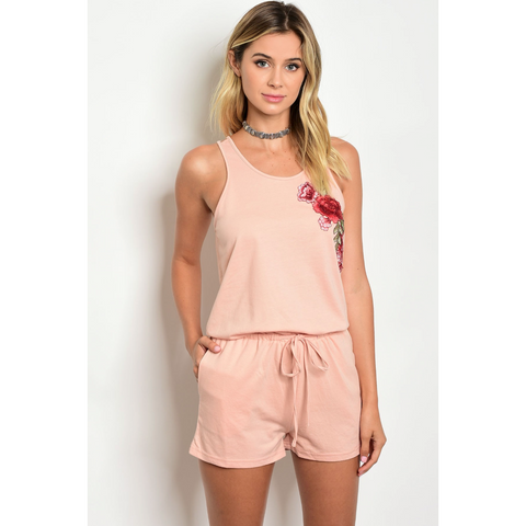 CALS Bubble Gum Pink Double Strap Romper with Embroidered Floral Detail