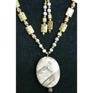 Grey Line Jasper with Grey spot Feldspar, Wood, & Brass