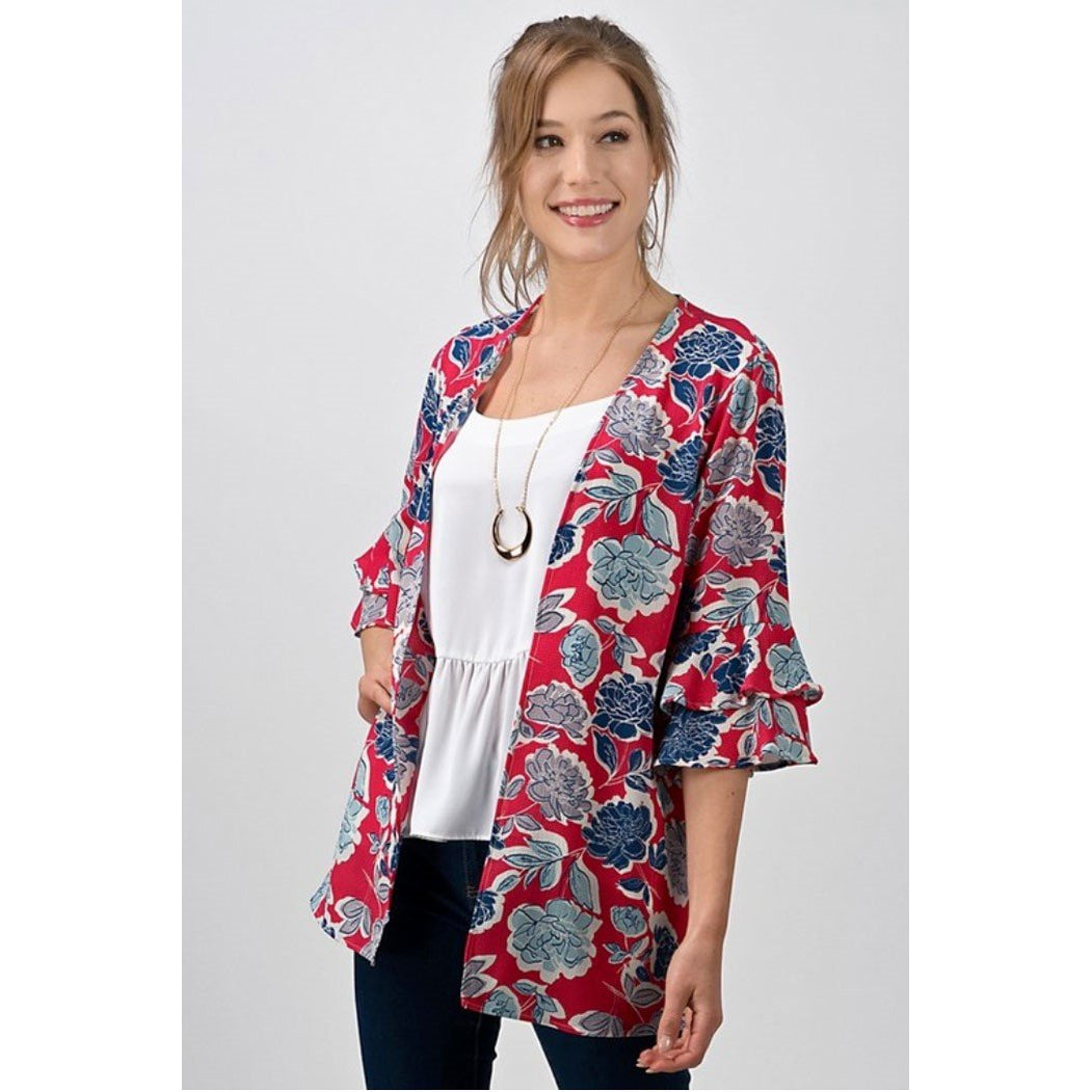 Andree Cherry Red Blue Floral Tiered Bell Sleeve Open Kimono