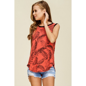 Candy Red Palm Leaf Print Black Trim Sleeveless Top