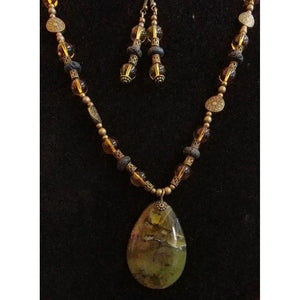 African Green Opal with Lava, Glass and Brass bead necklace with matching earrings