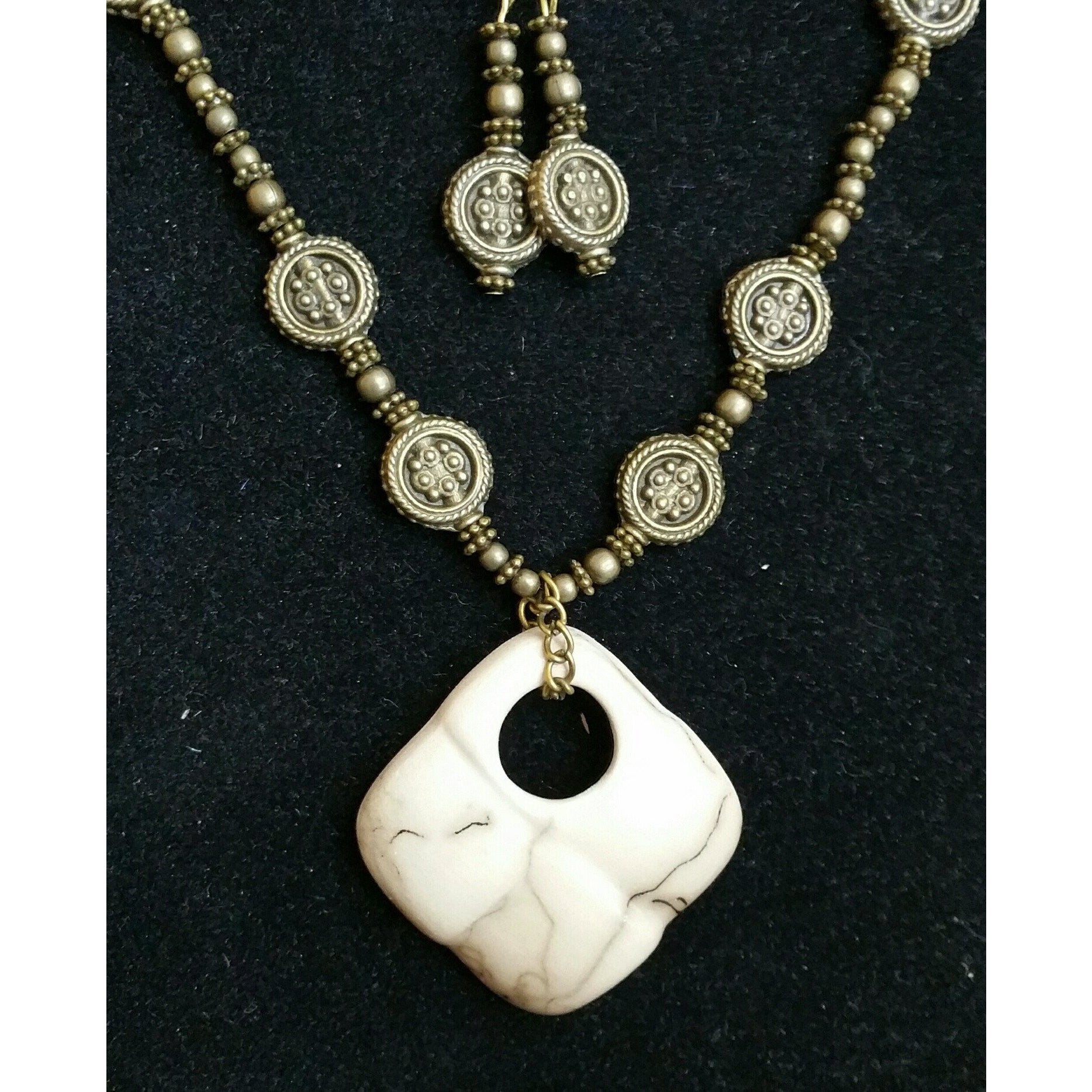 Horse Hair Fired Ceramic with Brass Necklace & Earring