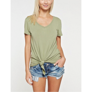 White Birch Sage Cupro Fabric Vneck Top with Front Knot Hem