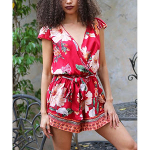 Angie Red Exotic Floral Print Tie Waist Romper