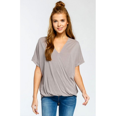 Cherish Taupe Overlapping Front Vneck Rounded Hem Top