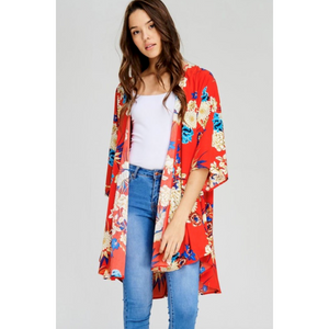 Jodifl Ruby Red Floral Print Open Kimono with 3/4 Sleeves