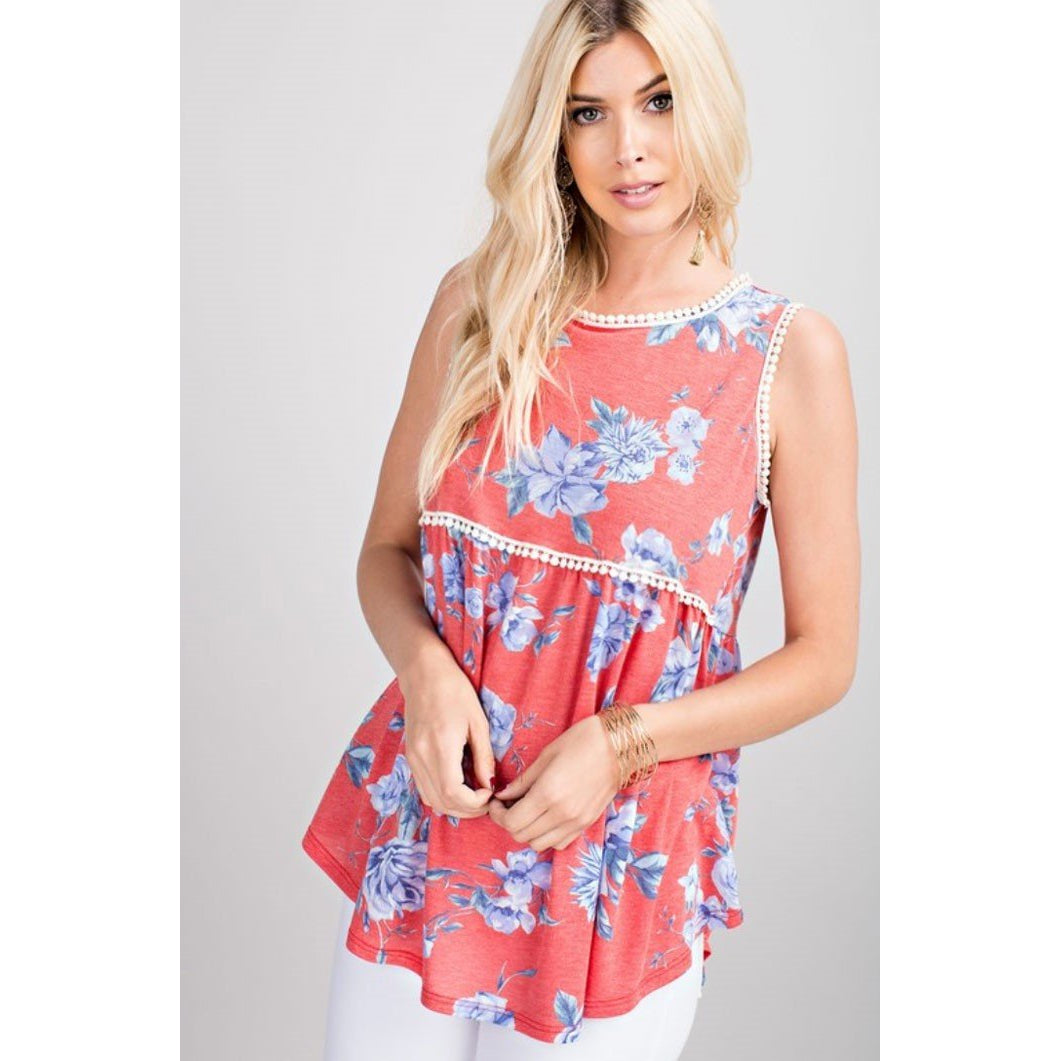 143 Story Coral Floral Print Babydoll Top with Crochet Trim Detail
