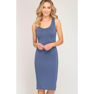 She & Sky Dusty Blue Sleeveless Bodycon Midi Layering Dress
