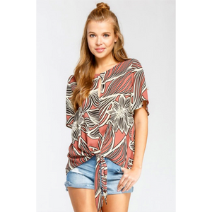 Cherish Mauve Tropical Floral Print HiLo Tie Front Top with Keyhole Detail