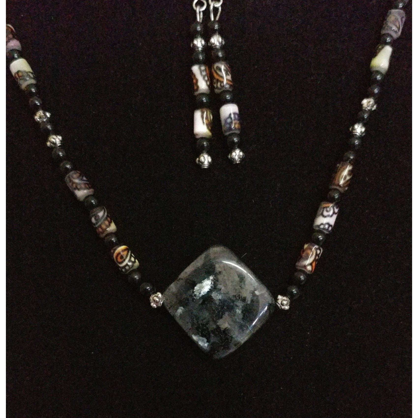 Larvakite with Stenciled Mother of Pearl and Agate and Silver