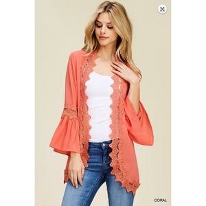 Jodifl Solid Coral Scallop Crochet Trim Open Kimono with Bell Sleeves