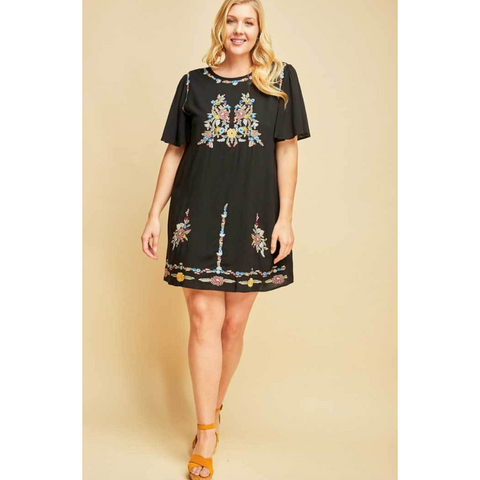 Black Flutter Sleeve Shift Dress with Colorful Embroidery Detail PLUS
