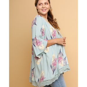 Umgee Mint Mix Floral Print Open Kimono with Crochet Trim and Gathered Back PLUS